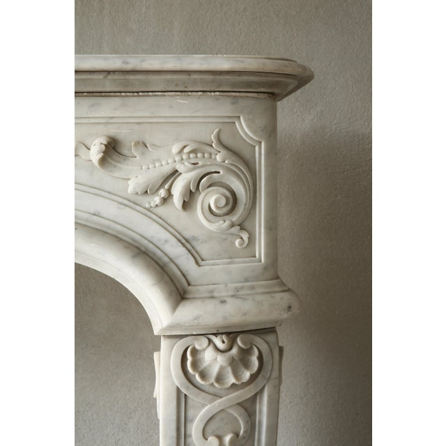 19th Century, Louis XIV Style, Antique Fireplace of Carrara Marble For Sale - Image 6 of 13