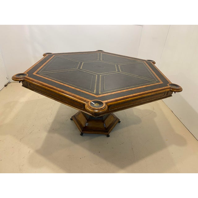 Maitland - Smith Maitland-Smith Embossed Leather Game Table For Sale - Image 4 of 12