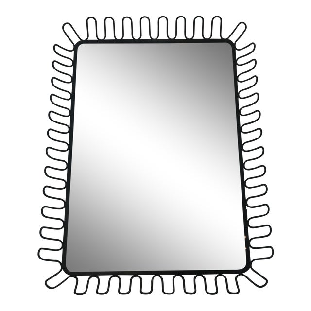 1950's French Ringed Metal Frame Mirror For Sale