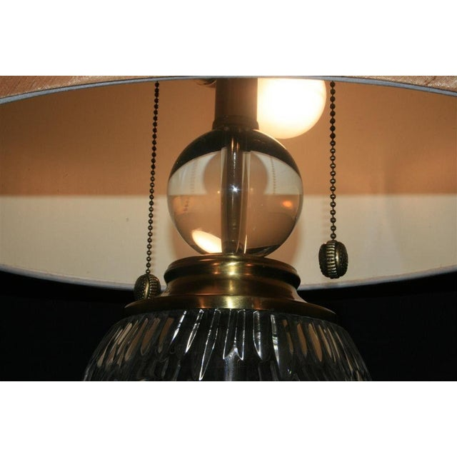 Dale Tiffany Etched Crystal Glass & Brass Table Desk Lamp With Shade Decorator For Sale In Philadelphia - Image 6 of 11