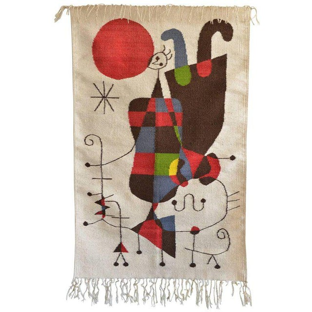1965 Miro Style 'Upside Down Figures' Tapestry For Sale - Image 9 of 9