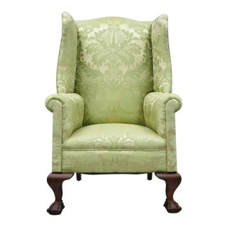 19th Century Georgian Chippendale Style Mahogany Ball & Claw Wingback Chair For Sale