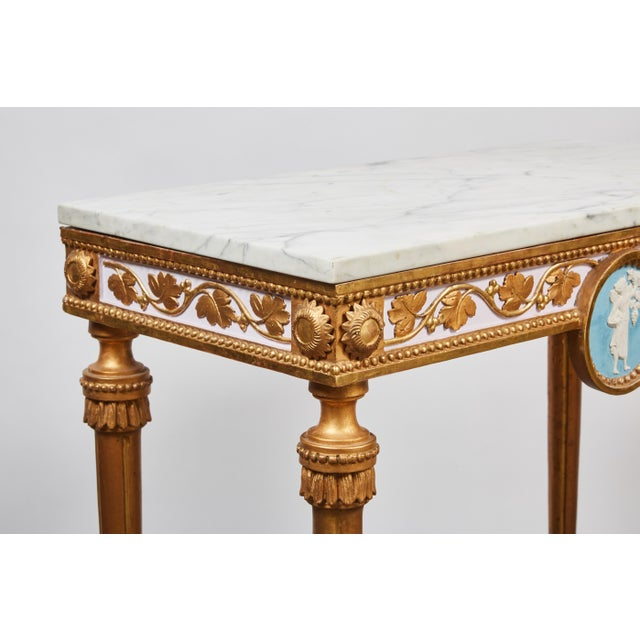 Early 18th Century 1790's Swedish White Marble and Gilded Console and Mirror For Sale - Image 5 of 10