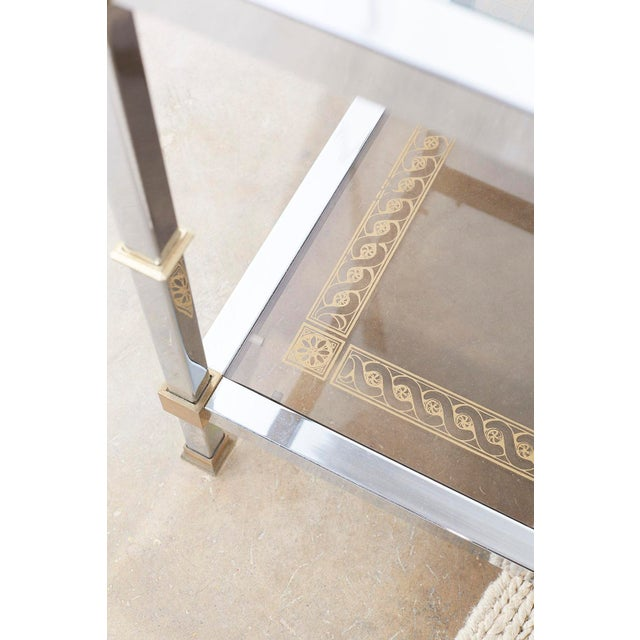 Pair of Maison Jansen Style Chrome and Brass Tables For Sale In San Francisco - Image 6 of 13