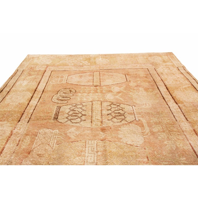 Islamic Antique Khotan Transitional Vase Pictorials Beige and Pink Wool Rug - 4′4″ × 6′6″ For Sale - Image 3 of 6