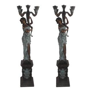 "Beautiful Pair of Bronze Lady ""torchere"" Floor Lamps"