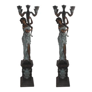 "Beautiful Pair of Bronze Lady ""torchiere"" Floor Lamps For Sale"
