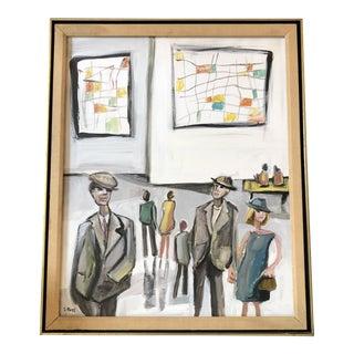 "Original Contemporary Stewart Ross Modernist ""Museum Series"" Painting Vintage Modernist Frame For Sale"