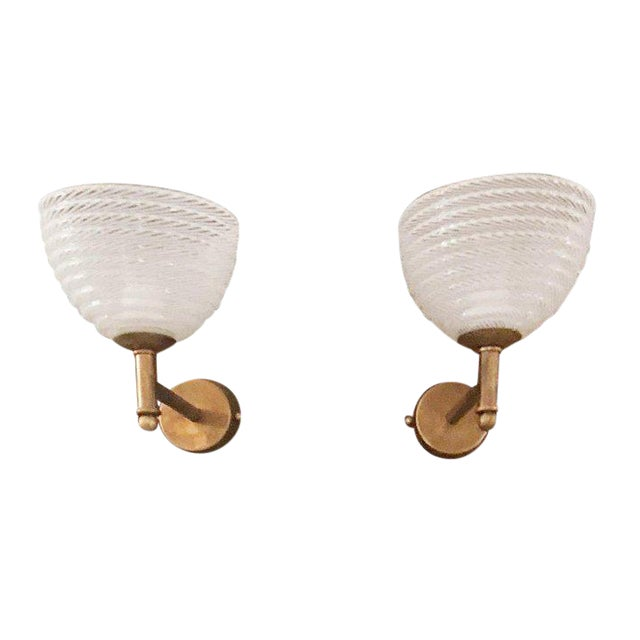 Vintage Barovier E Toso Ribbed Murano Glass Sconces - a Pair For Sale - Image 10 of 10