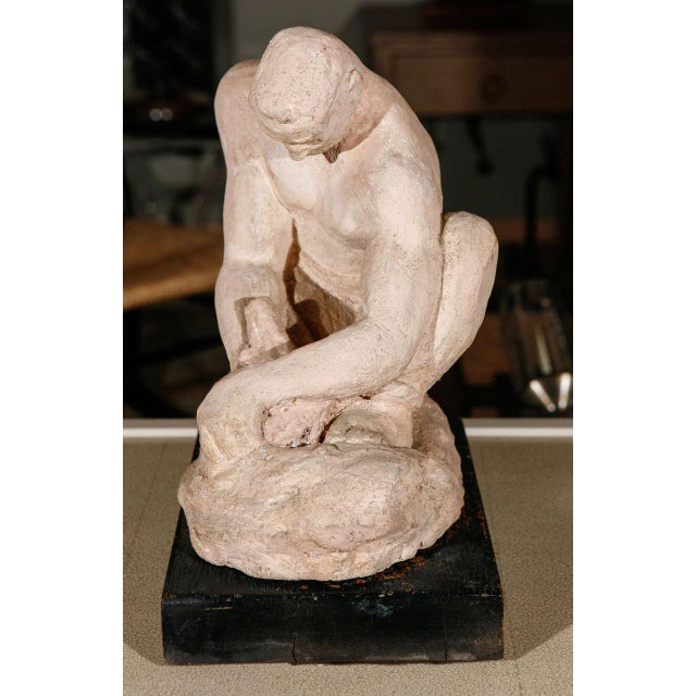 WPA Sculpture of Man in Thought - Image 6 of 8