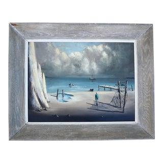 Signed Original John Stancin (1916-1988) Surrealist Artwork   Surrealist Seascape Framed Oil on Canvas Painting   Coastal Landscape Artwork For Sale