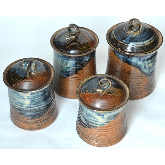1970s Vintage Mid Century Stoneware Pottery Canister- Set of 4 For Sale - Image 5 of 8