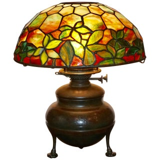 Tiffany Studios Woodbine Stained Glass Table Lamp For Sale