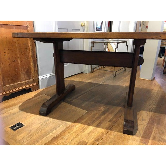 French Provincial 19th Century French Provincial Circassian Walnut Table With Trestle Base For Sale - Image 3 of 6