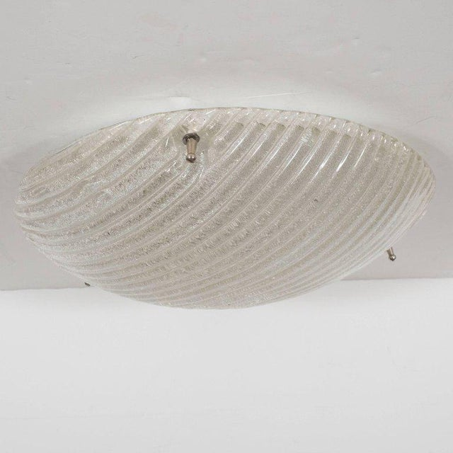 Mid-Century Modern Striated Mid-Century Modernist Flush Mount with Nickel Fittings For Sale - Image 3 of 7