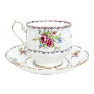 Royal Albert Petit Point Bone China Teacup and Saucer - A Pair