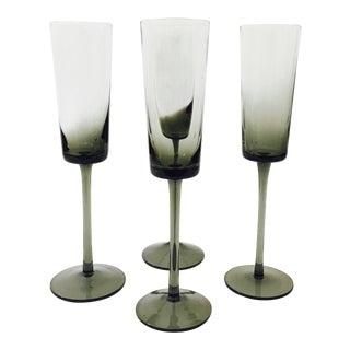 Vintage Smoke Gray Champagne Glasses - Set of 4 For Sale