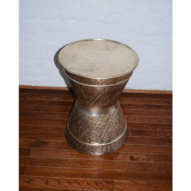 Boho Chic Fez Silver Metal Drum Table/Stool For Sale - Image 3 of 4