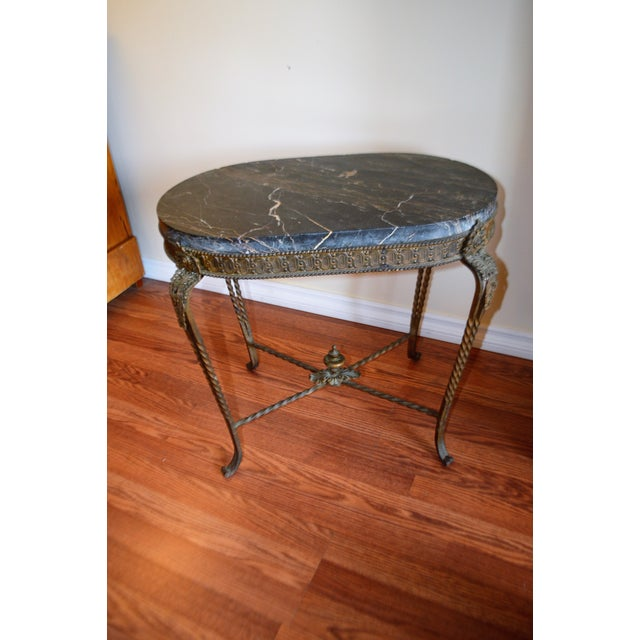 Louis XV Style Wrought Iron Garden Oval Side Table With Thick Marble Top. For Sale - Image 9 of 9