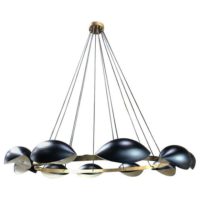 Metal Vintage Oversize Round Brass 8 Light Chandelier, Italy, 1960s For Sale - Image 7 of 7