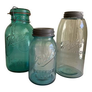 Vintage Farmhouse Blue Glass Storage Jars, Set of 3 For Sale