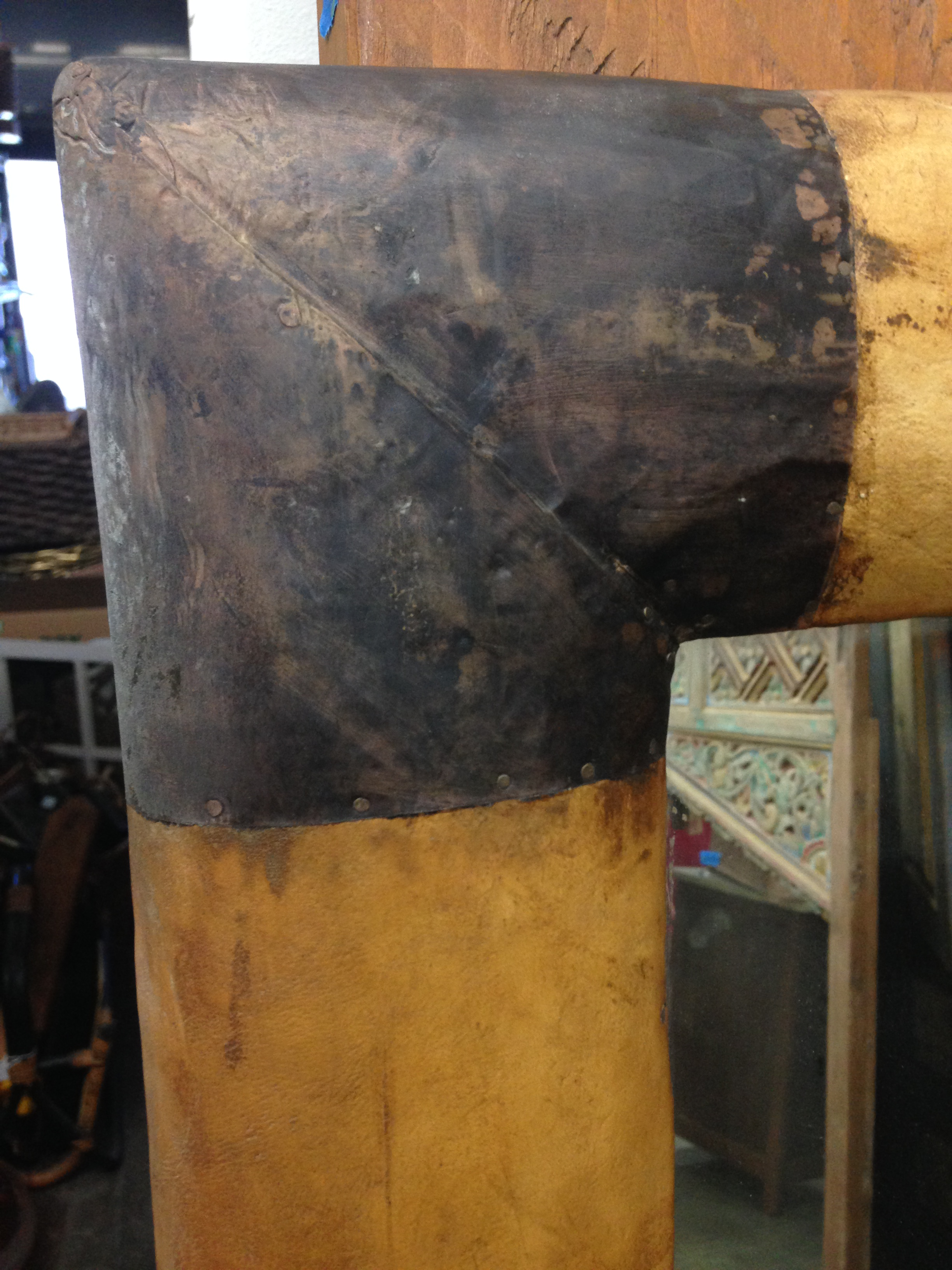 Metal Capped Full Length Leather Mirror Chairish