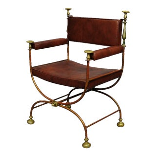 Wrought Iron Chair In Classical Roman Design, French Ca. 1930ties For Sale