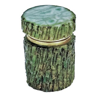 Green Alabaster Faux Bois Jewelry or Keepsake Box - Vintage Italian Italy Mid Century Modern Palm Beach Boho Chic Tree Branch Bark For Sale