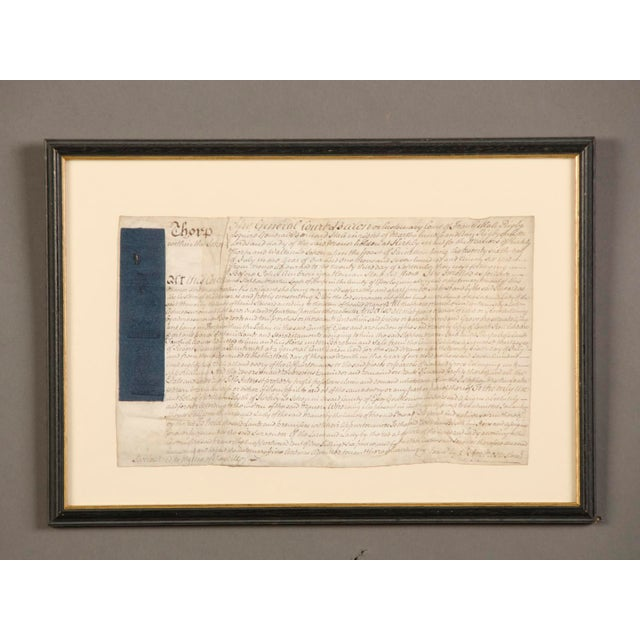 "An ancient indenture from England c.1800 enclosed in the original frame. The term ""indenture"" first appeared in the..."