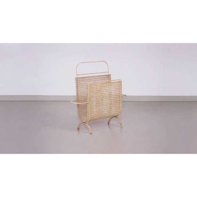 Really nice Mathieu Matégot beige Folded Magazine Stand in vintage condition.