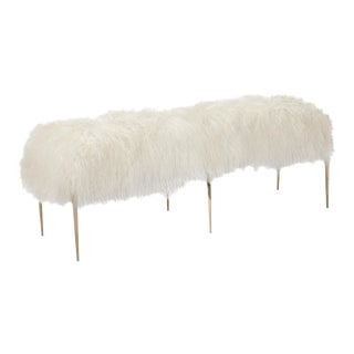Stiletto Bench - Ivory Sheepskin For Sale