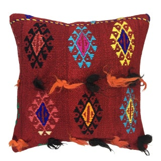 "Eclectic UpCycled Kilim Pillow | 16"" For Sale"
