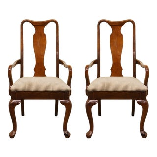 Henry Link Queen Anne Style Dining Arm Chairs - a Pair For Sale