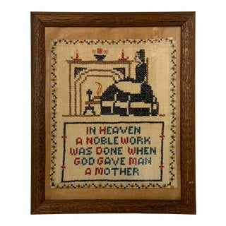 Antique Cross-Stitch God Gave Man a Mother For Sale