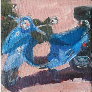 """Blue Scooter"" Oil Painting For Sale"
