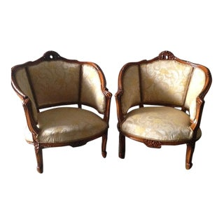 French Louis XVI Style Bergere Chairs - A Pair