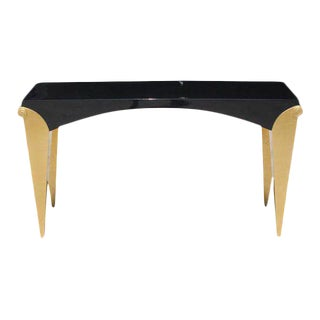 beautiful French Art Deco Giltwood/ Black Lacquered Console Tables, circa 1940s