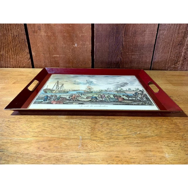 French Country Shabby Chic Serving Tray For Sale - Image 3 of 11