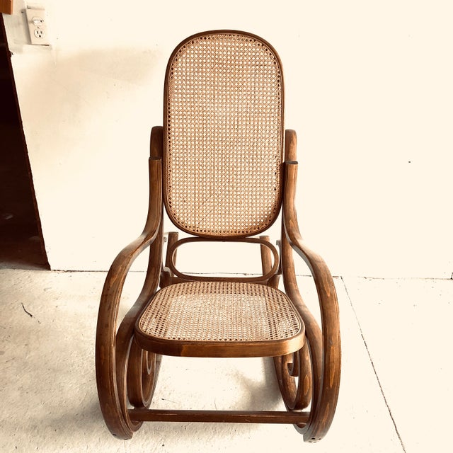 French Bentwood and Caned Rocking Chair Thonet Style For Sale - Image 3 of 8