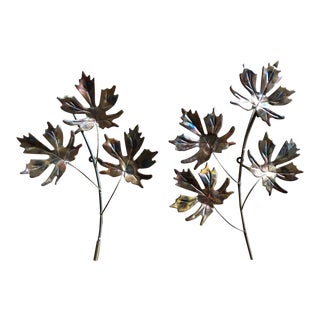 Final Price! Vintage Brutalist Copper-Toned Leaves Wall Hangings - a Pair For Sale