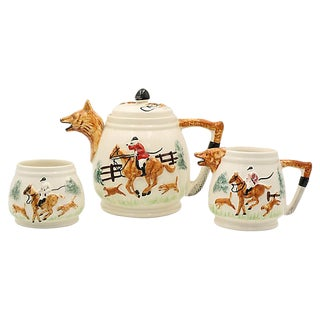 Mid-Century English Hunting Scene Tea Set - 3 Pcs