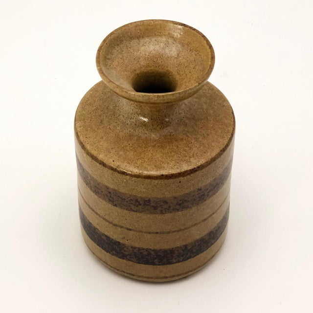 1960s Mid-Century Pottery Craft California Brown on Brown Stoneware Bud Vase For Sale - Image 5 of 13