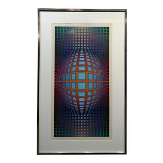 1960s Bauhaus Victor Vasarely Rolling Ball Optical Illusion - Pencil Signed Color Screen Print For Sale