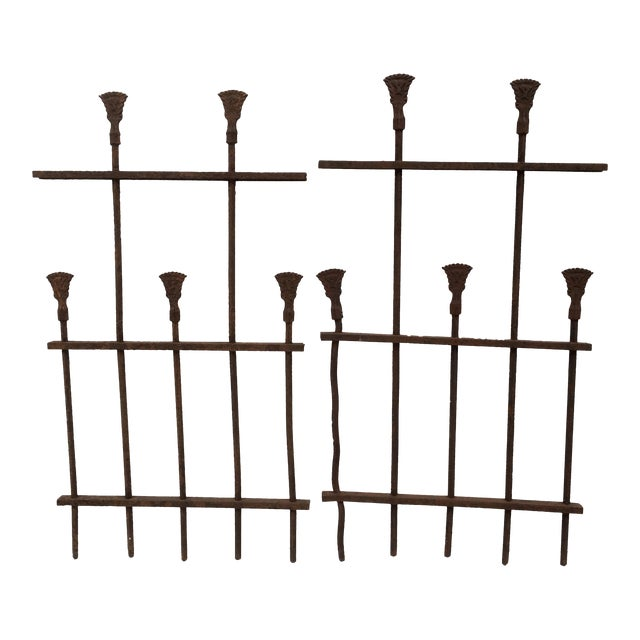 Antique Iron Fence Remnants - A Pair For Sale