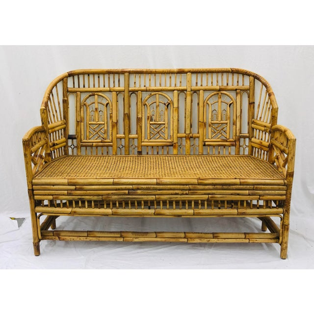 Vintage Chinese Chippendale Bamboo & Cane Settee For Sale - Image 13 of 13