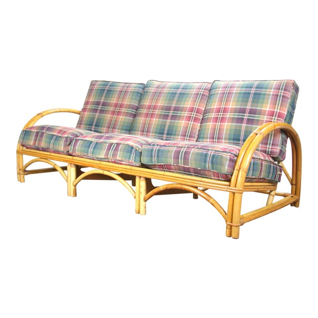 C 1950 Fitz & Reed Style Rattan Bamboo Sofa For Sale