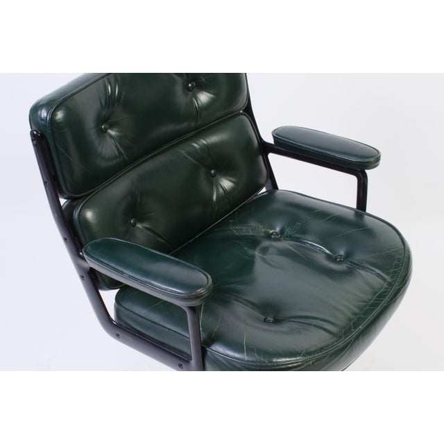 Eames Green Leather Time Life Chair for Herman Miller For Sale - Image 9 of 9