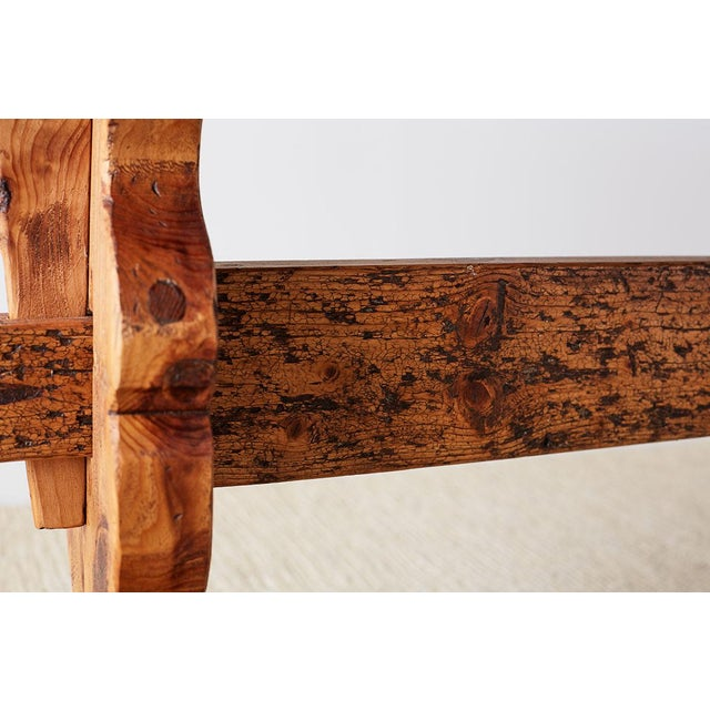 Rustic Italian Baroque Style Pine Trestle Farm Table For Sale In San Francisco - Image 6 of 13