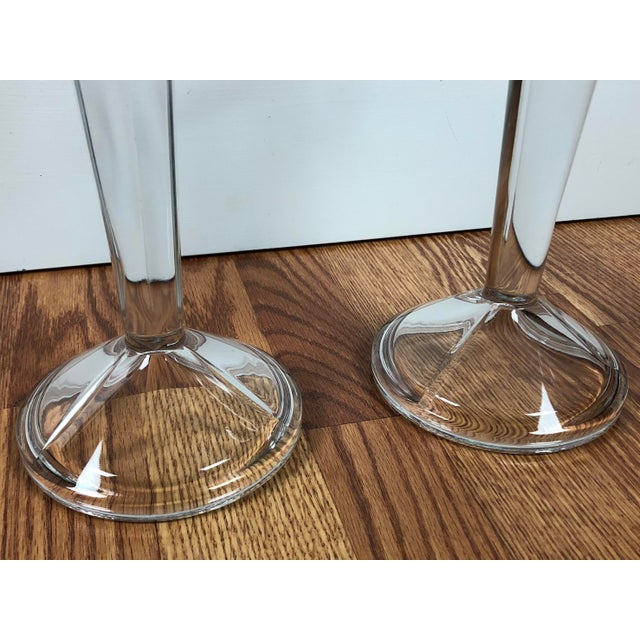 Minimalist Solid Clear Glass Candle Holders - A Pair For Sale - Image 5 of 7