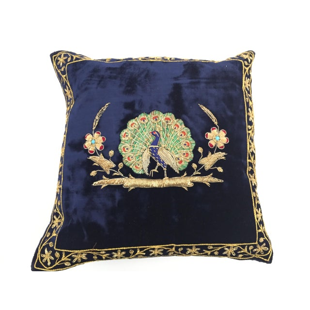 Mid Century Velvet Blue Silk Pillow Embroidered With Gold Peacock For Sale - Image 9 of 11
